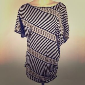 Max Studio Striped Blouse Sz Med Black and Tan